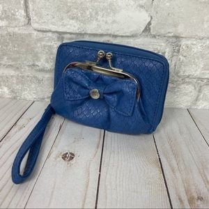 ELLE Blue Snake Skin Bow Wallet Wristlet